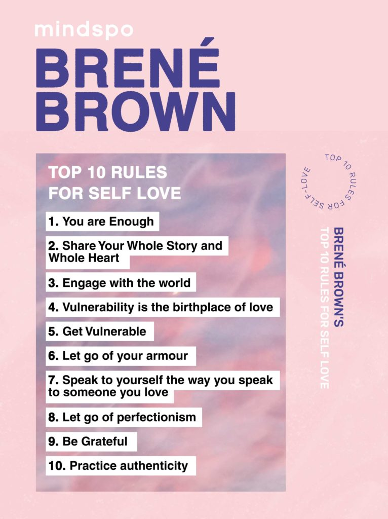 Brené Brown rules for self love, motivation, inspiring video, rules for self love, Mindspo, mindspo self love, self care, self care tips, meditation course, wellness, meditation app, habits, personal development, personal growth, courage and vulnerability, you tube, best of