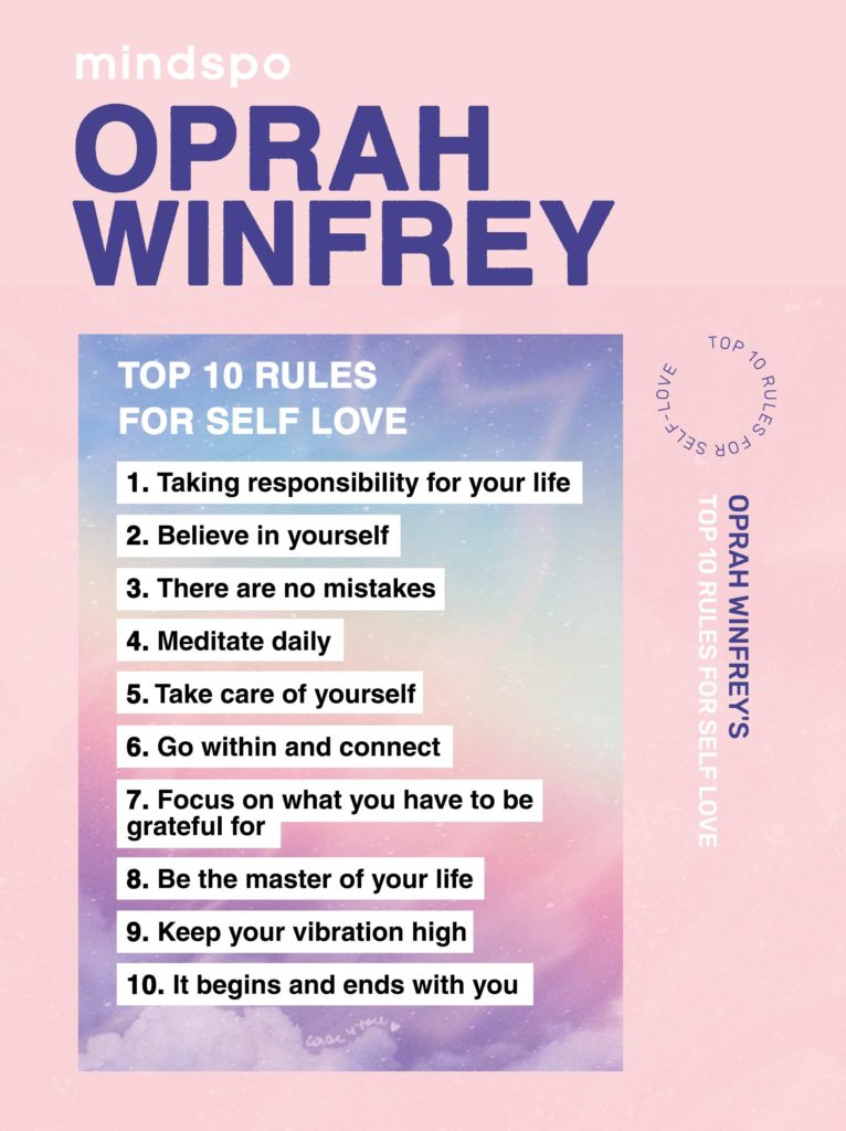 Oprah rules for self love, motivation, own, inspiring video, Oprah show, rules for self love, Mindspo, mindspo self love, self care, self care tips, meditation course, meditation teacher, at home, free tips, wellness, meditation app, habits, personal development, personal growth